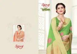 Fancy Linen Cotton Silk Saree