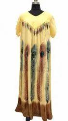 Rayon Brush Printed Long Dress