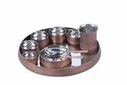 Smokey Finish Copper Hammered Maharaja Thali Set