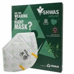 Venus V-Shwas Natural White N95 FFP3 Ear Loop Mask With Green Leaves
