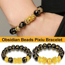 Obsidian Beads Pixiu Braclete