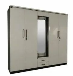 Interior 4 Door Wooden Wardrobe, With Locker, Size/Dimension: 7 X 6.5feet