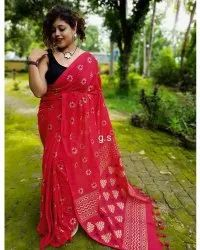 Red Party Wear Bengal Handloom Hand Painted Cotton Saree, Floral Design, 6.3 meters