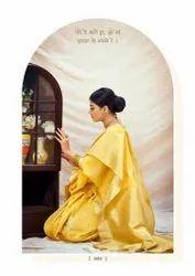 Festive Wear Linen Jacquard Saree