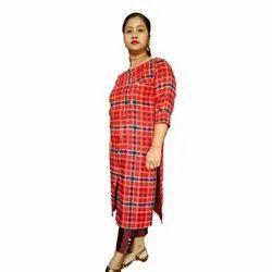 Casual Wear Regular Red Check Woolen Kurti, Size: Medium, Wash Care: Handwash