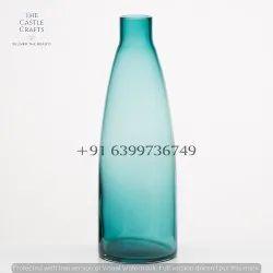 Color Glass Bottle Vase, Shape: Round, Size: 10 Inch