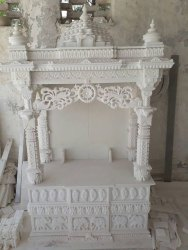 Makrana White Marble Curved Temple, For Workship