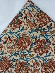 White-orange And Red Flower Kalamkari Fabric Exporter