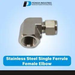 Stainless Steel Single Ferrule Female Elbow