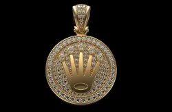 Rolex Style Diamond Crown Medallion Pendant