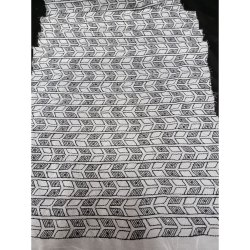 Chanderi Dyble Gorgette On Black Thread Work, White