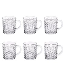 Fish Cut Design Glass Tea Cup Set, Set of 6, 240 ml Each