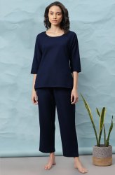 Janasya Women's Navy Blue Cotton Flex Night Suit Set (NW004)