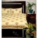 King size 3 layered 100%, block printed, cotton sheet filled quilted bed cover with 2 pillow cases.