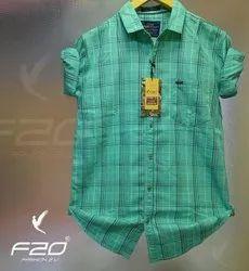 Slim Fit Cotton F20 Mens Twill Check Shirt, Handwash
