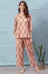 Janasya Women's Light Pink Cotton Night Suit Set(NW030)