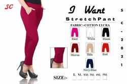 Solid Big Size Stretchable Pants For Ladies, Waist Size: L TO 5XL