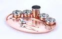 Copper Hammered Moon Tray with Handi Dishes