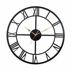Black Analog Metal roman design wall clock, For Home, Size: 40 cm