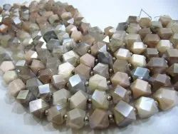 Natural Multi Moonstone Cube Box Shape Briolette Silver Coated Beads