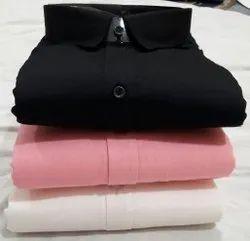 Cotton Drill Collar Neck Multi Brand Casual Plain Shirts, Size: m l xl