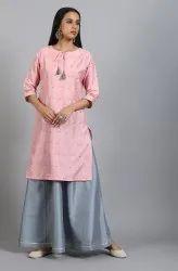 Janasya Women's Pink Poly Silk Kurta With Skirt(SET209)