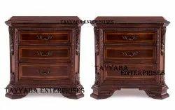 Brown Modern Wooden Bedside Table Set For Bedroom Furniture