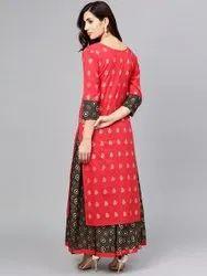 Rayon Printed Kurti Skirt Set