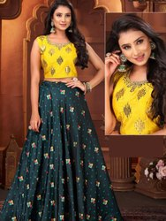 Green Designer Crop Top With Skirt And Banarasi Vibin Work