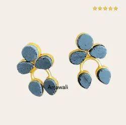 Black Brass Real Stone Earrings Fashion Earrings