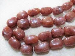 Strawberry Quartz  Red Fire Quartz Smooth Tumble Stone Beads