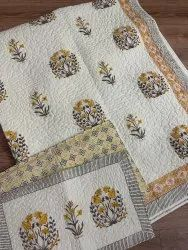 Cotton Hand Block Printed Floral Cotton Quilted Bed Cover With Pillow cover