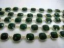 Green Onyx Chalcedony 13mm Cushion Briolette Shape Gemstone Bezel Connector Chain