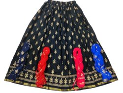 Ladies Rayon Gold Print Skirt
