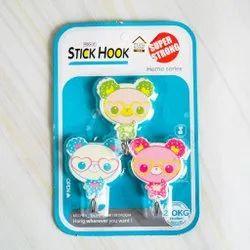 Cute Cartoon Design Self Adhesive Plastic Hook-  Set of 3-  Assorted Design