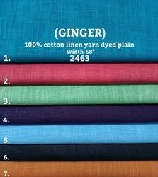 Ginger 100% Cotton Linen Yarn Dyed Plain Shirting Fabric