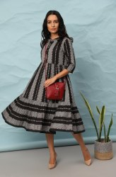 Janasya Women'S Black Cotton Western Dress(J0295)