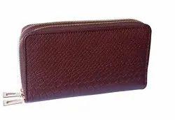 Brown Handmade Genuine Leather Snack Printed Dual Zip Clutch, Size: 19*10*4