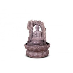 Rock Textured Buddha Fountain With Lotus Bas