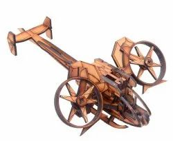 Brown Antique Wooden Fighter Plane, For Decoration, Size: 18x11x6 Inch
