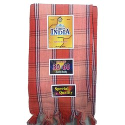 Checkered Times India Cotton Towel, Rectangular, Size: 30x60inch