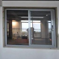 Modern Gray Aluminium Sliding Window, For Office