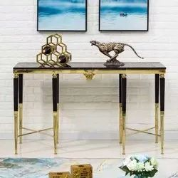 Gloss golden metal black marble sofa side tables
