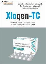 Aceclofenac 100mg + Paracetamol 325mg + Trypsin Chymotrysin 50000 IU Tablets