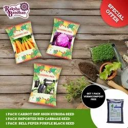 Combo Pack Seeds (Carrot+Red Cabbage+Bell Peper Black) With Vermicompost Free