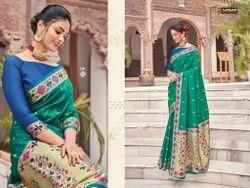 Sangam Prints Multicolor Bordered Printed Silk Saree