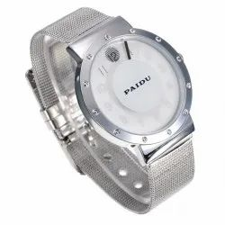 Casual Wear Turnable Analogue White Dial Stainless Steel Men Watch, Model Name/Number: Paidu-004