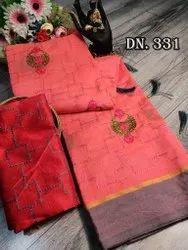 KCS 6 Colour Cotton Embroidery Sarees, 6.3 m (with Blouse Piece)