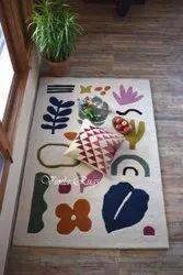 Handmade Floral Tufted Indoor Rug, Size: 4 X 6 Feet