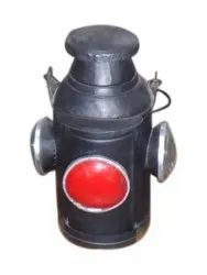 Black and Red Iron Antique Railway Lamp